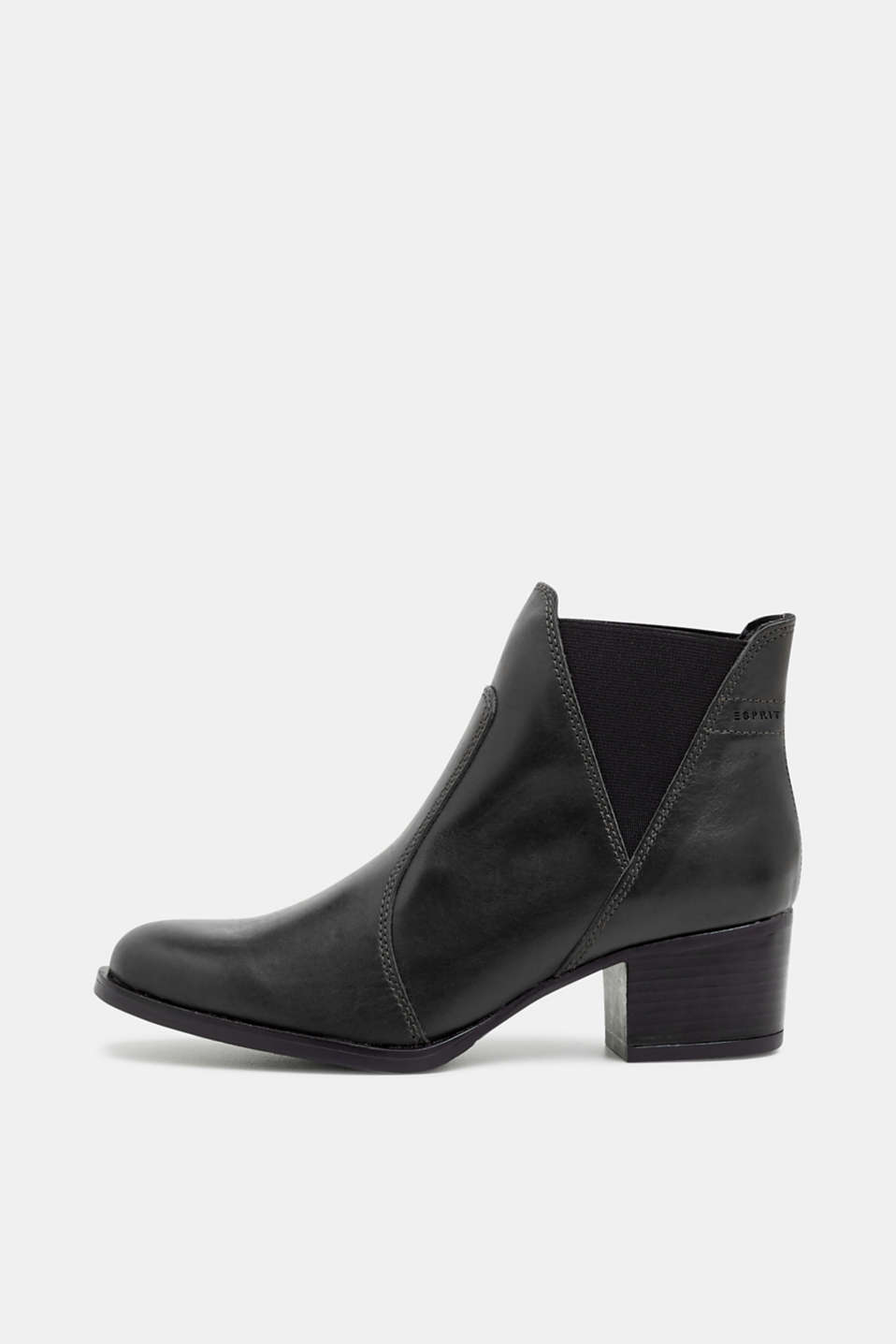 Esprit - Bottines à talons bottier, en cuir