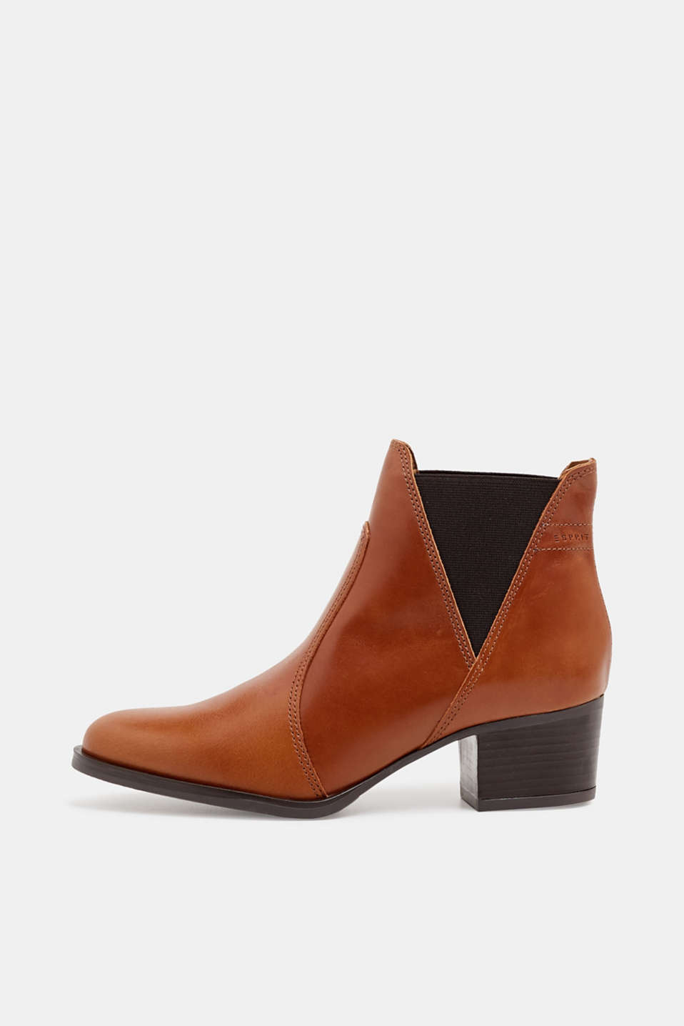 Esprit - Leather ankle boots with a block heel