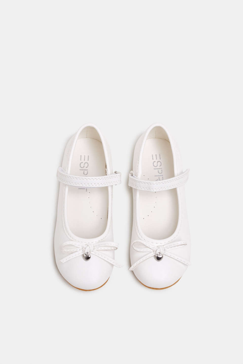 Ballerinas with Velcro straps, in faux leather, WHITE, detail image number 1