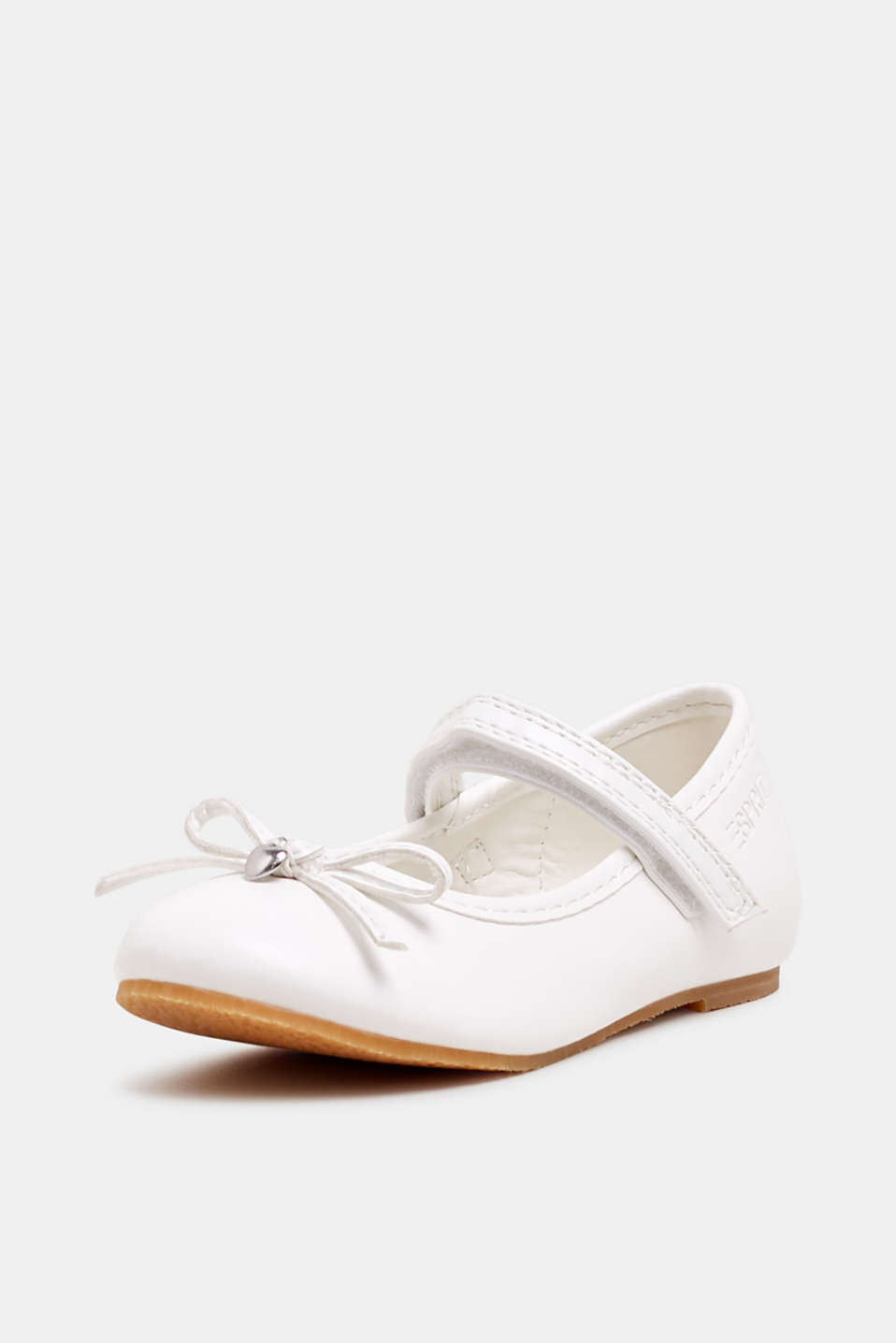 Ballerinas with Velcro straps, in faux leather, WHITE, detail image number 2