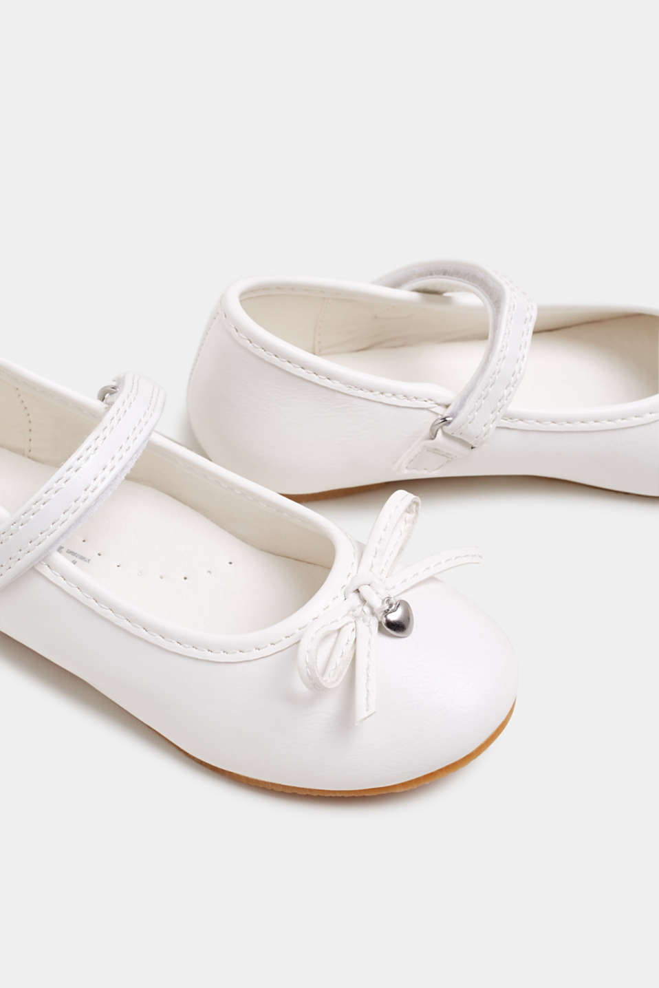 Ballerinas with Velcro straps, in faux leather, WHITE, detail image number 3