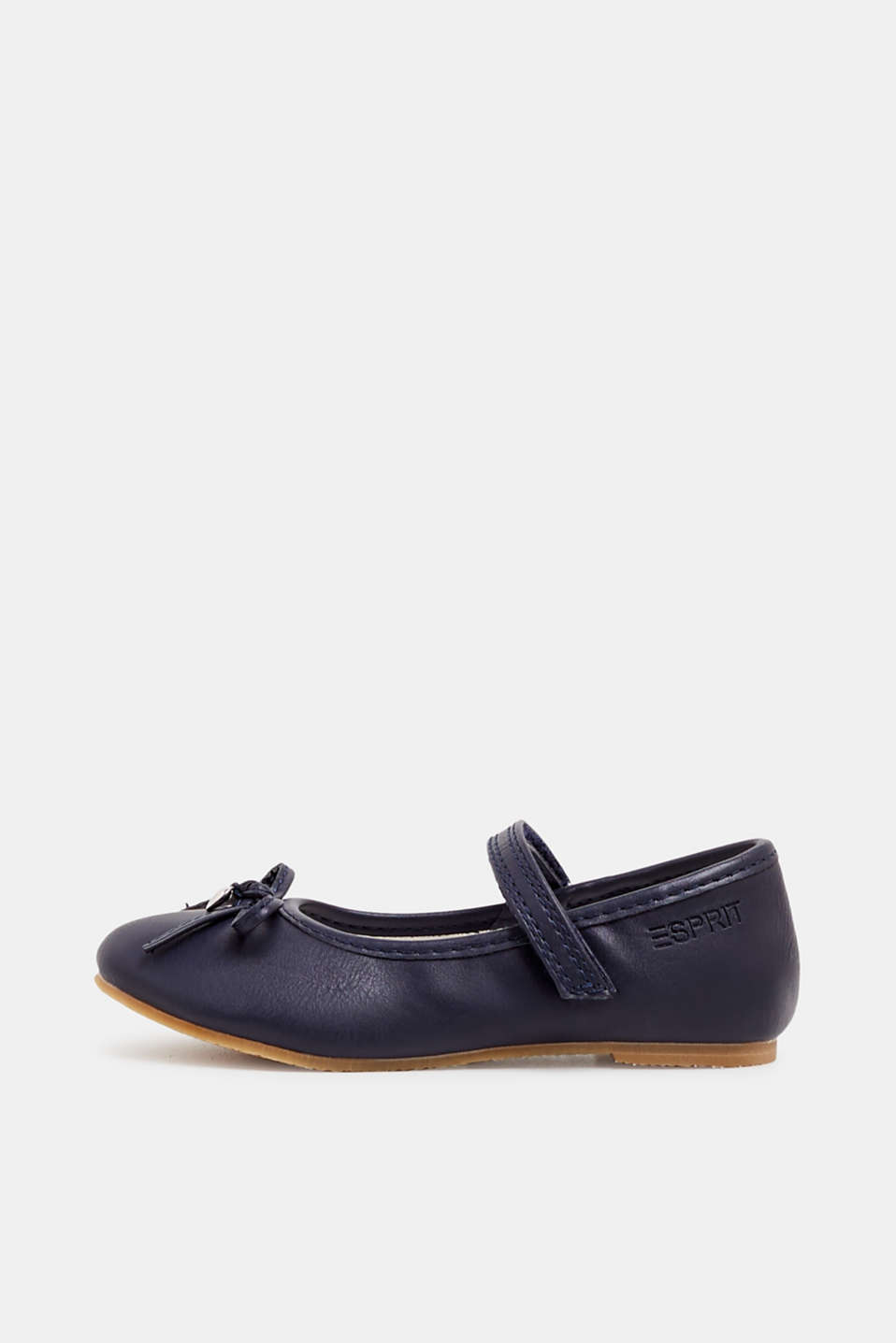 Ballerinas with Velcro straps, in faux leather, NAVY, detail image number 0