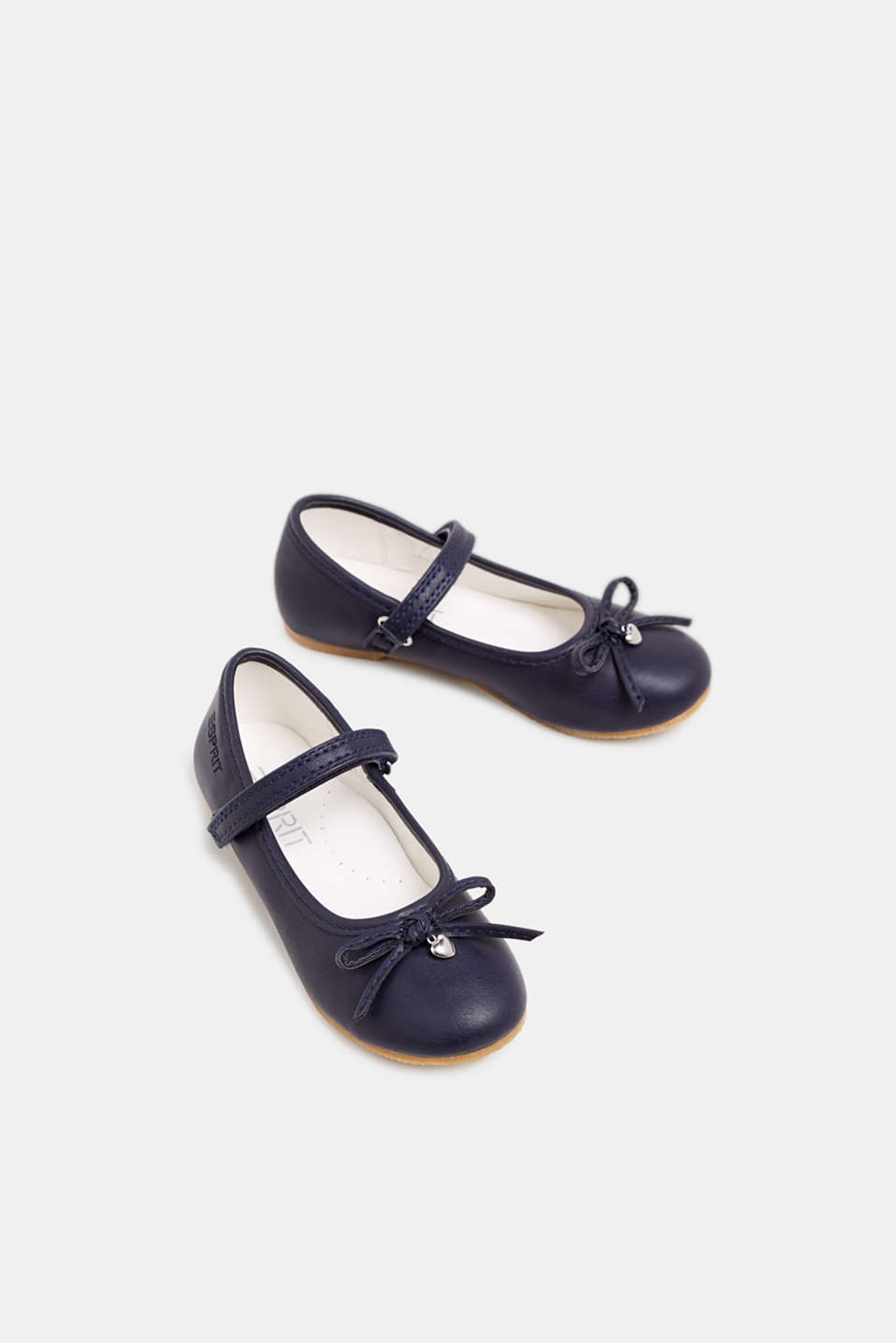 Ballerinas with Velcro straps, in faux leather, NAVY, detail image number 1