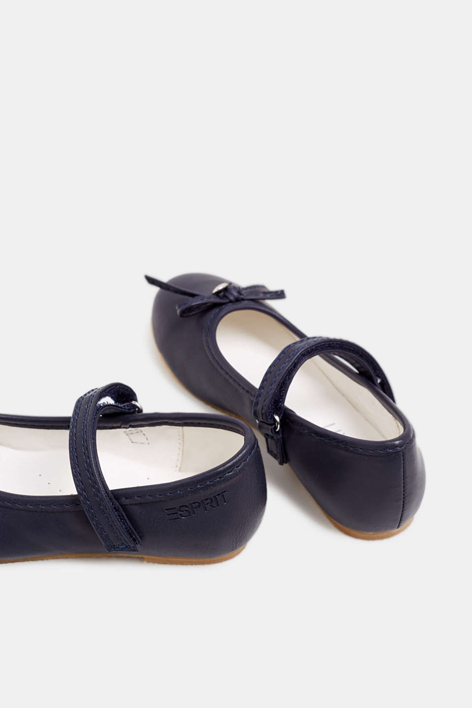 Ballerinas with Velcro straps, in faux leather, NAVY, detail image number 4
