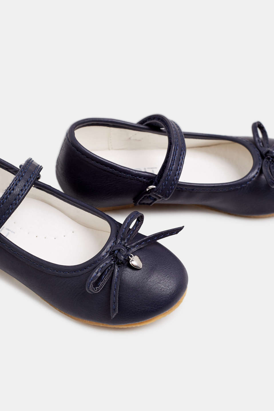Ballerinas with Velcro straps, in faux leather, NAVY, detail image number 3