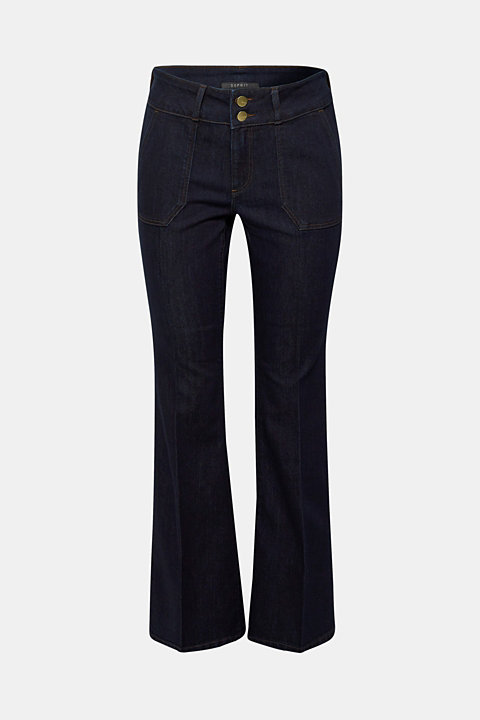Bootcut stretch jeans with a wide waistband