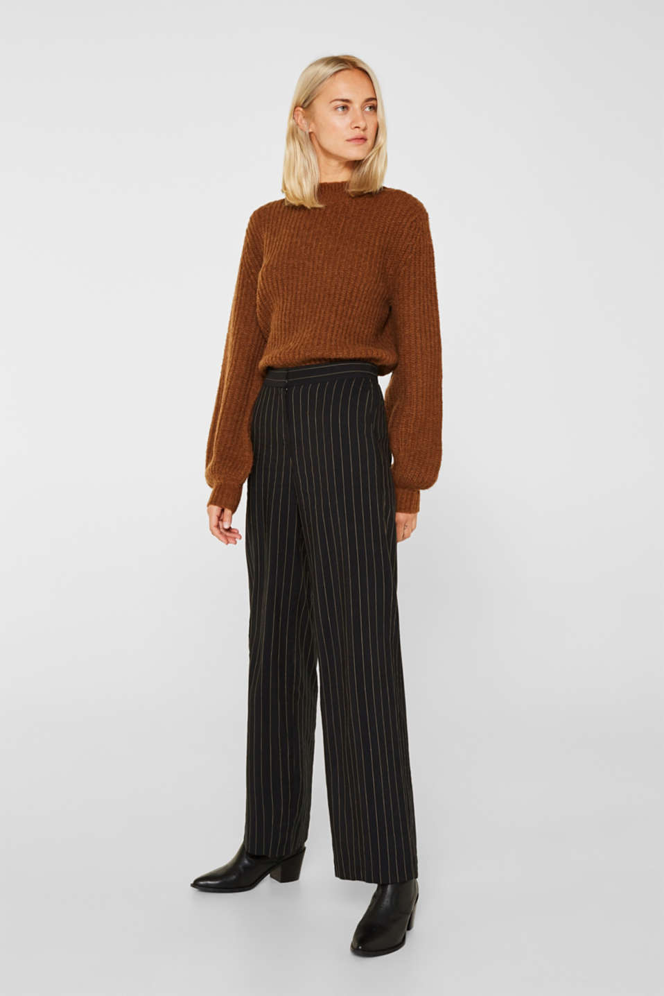 Esprit - Pinstripe mix + match trousers with a wide leg