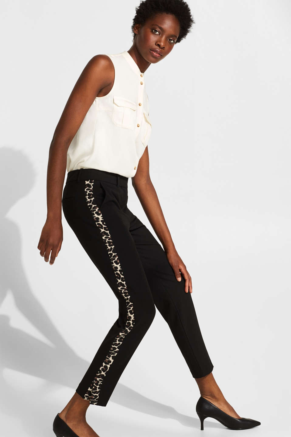 Esprit - Stretch trousers trimmed with a leopard print