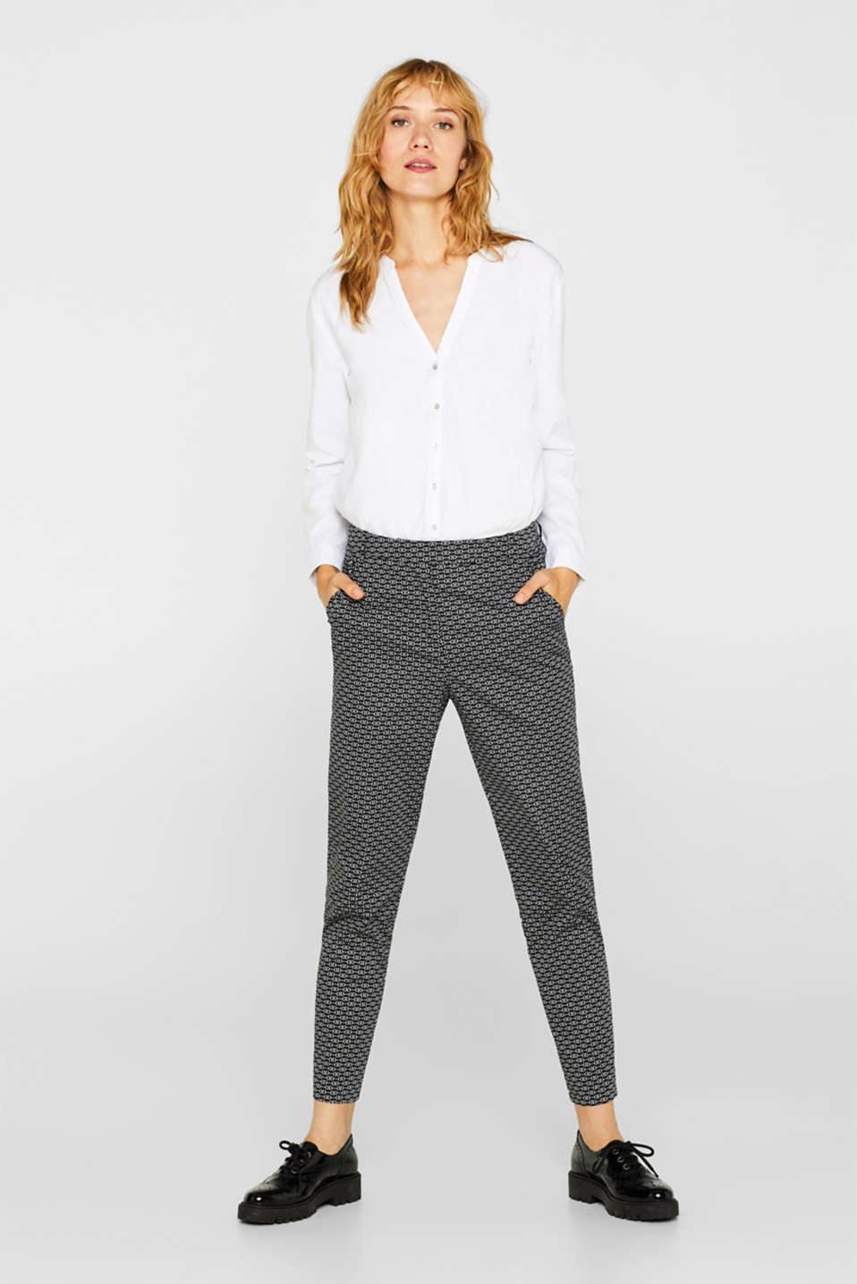 Esprit - Stretch-Pants mit Steigbügel-Print