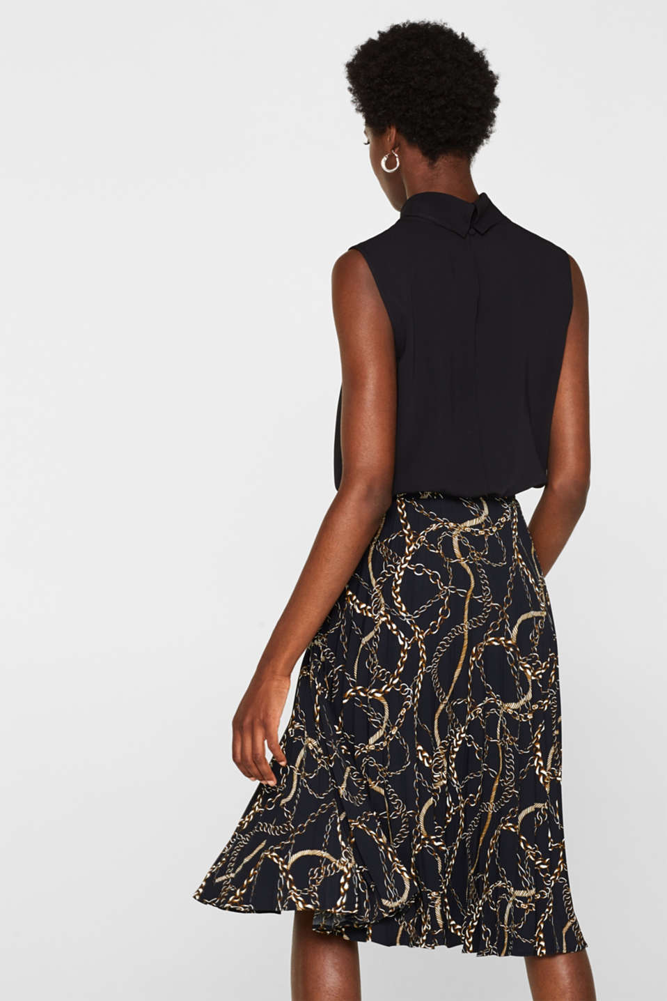 Pleated necklace print skirt, BLACK, detail image number 3
