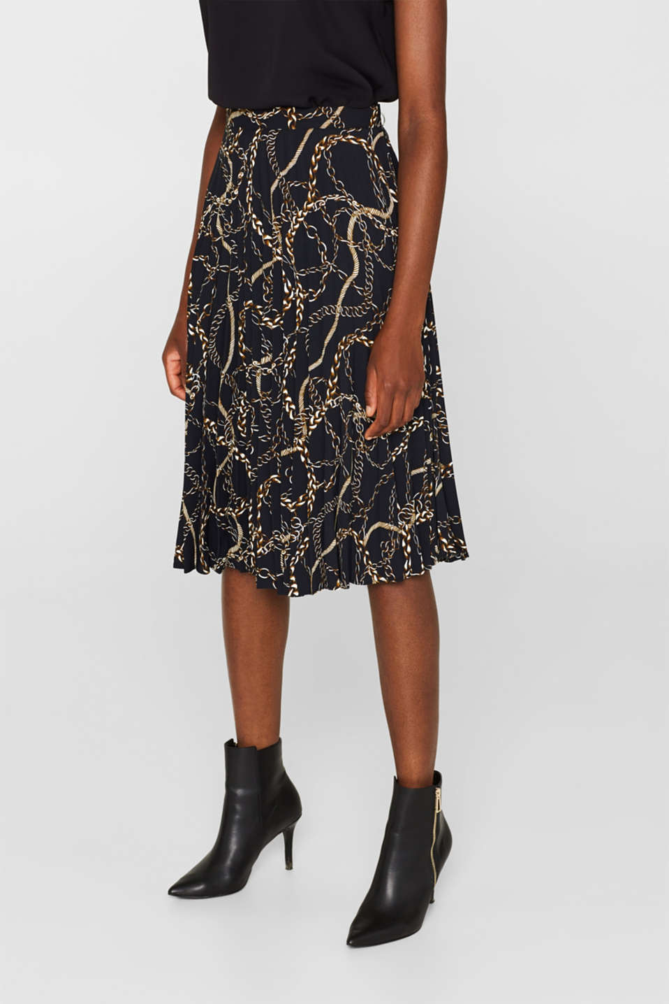 Pleated necklace print skirt, BLACK, detail image number 5