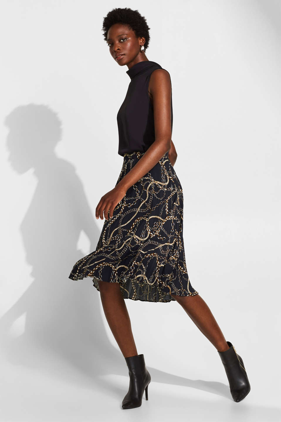 Pleated necklace print skirt, BLACK, detail image number 1