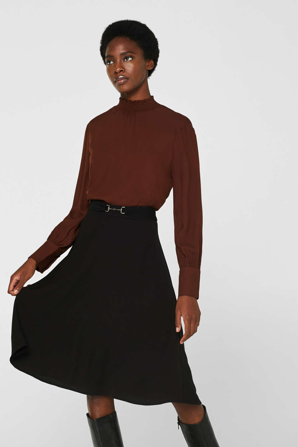 Esprit - Flared crêpe skirt with a bridle belt