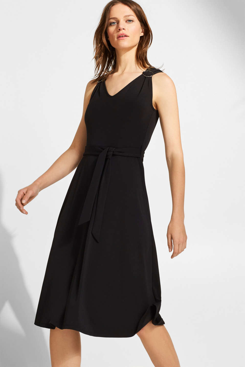 Esprit - Stretch jersey dress with decorative rings