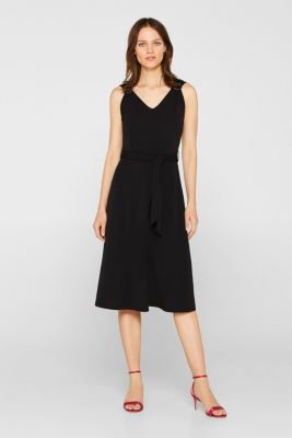 Stretch jersey dress with decorative rings, BLACK, detail
