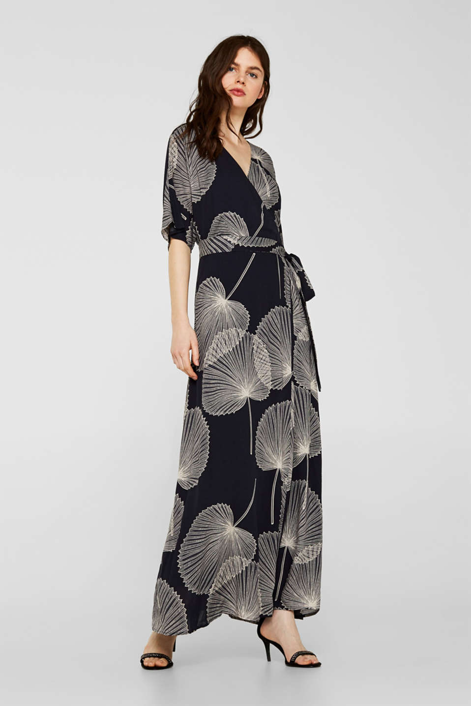 Esprit - Maxi dress in jacquard fabric with a wrap-over effect