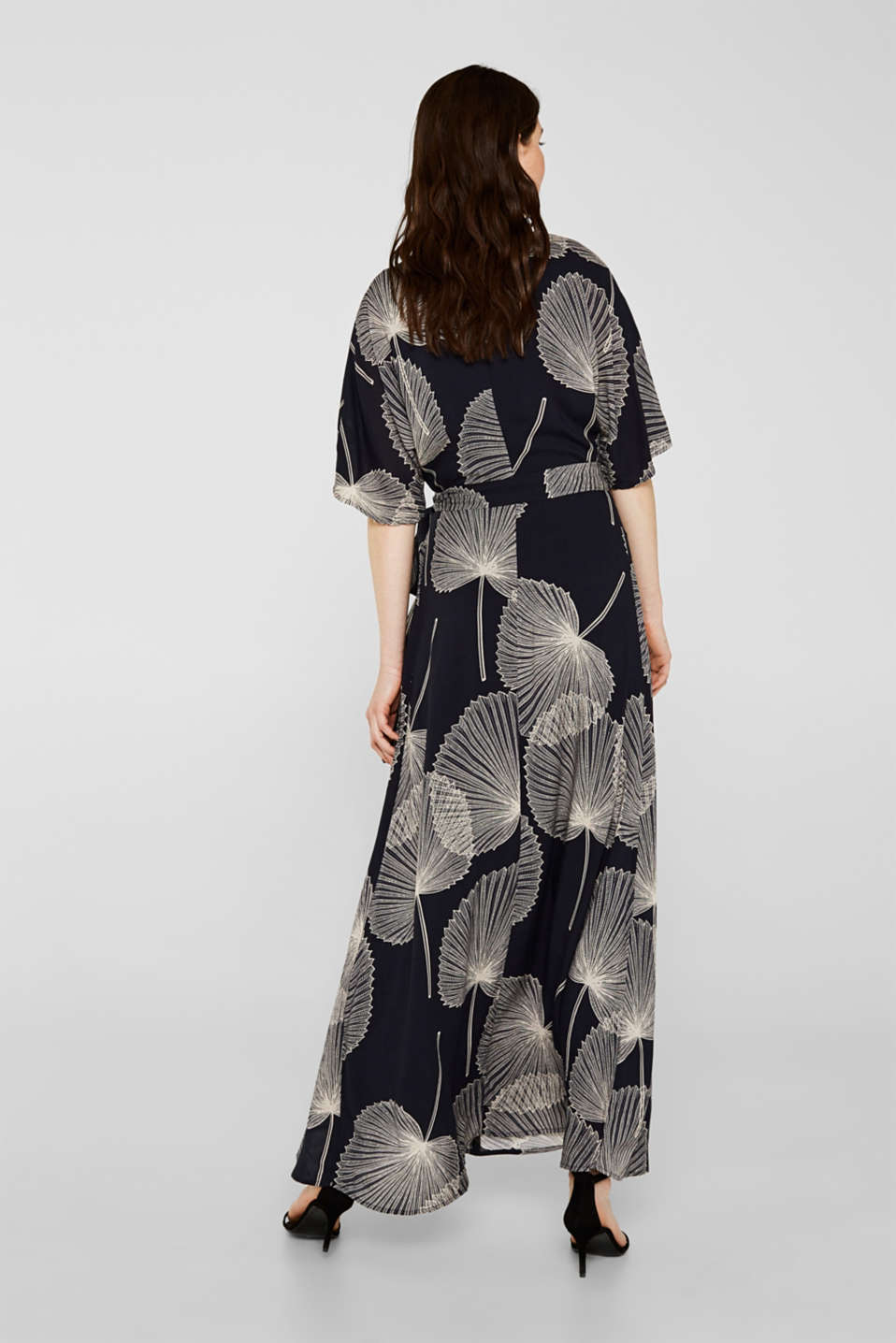 Maxi dress in jacquard fabric with a wrap-over effect, BLACK, detail image number 1