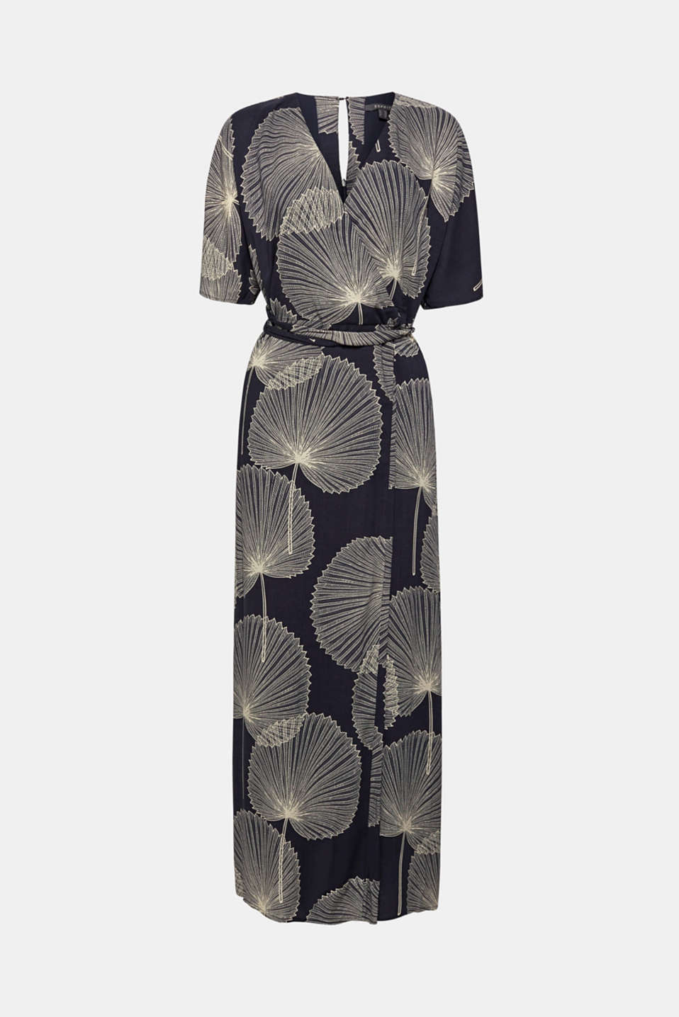 Maxi dress in jacquard fabric with a wrap-over effect, BLACK, detail image number 5