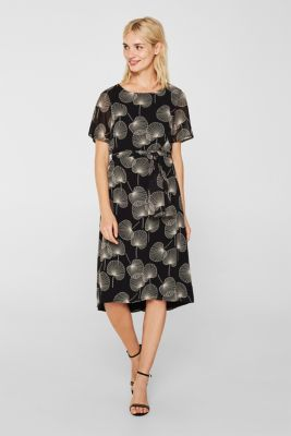 Printed dress with cap sleeves and a belt, BLACK, detail