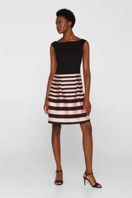 Stretch jersey and fabric dress, BLACK, detail