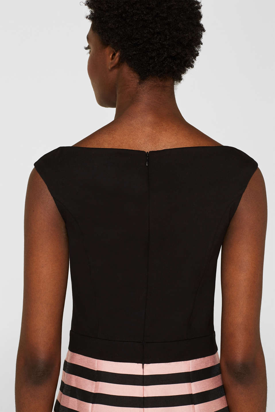 Stretch jersey and fabric dress, BLACK, detail image number 5