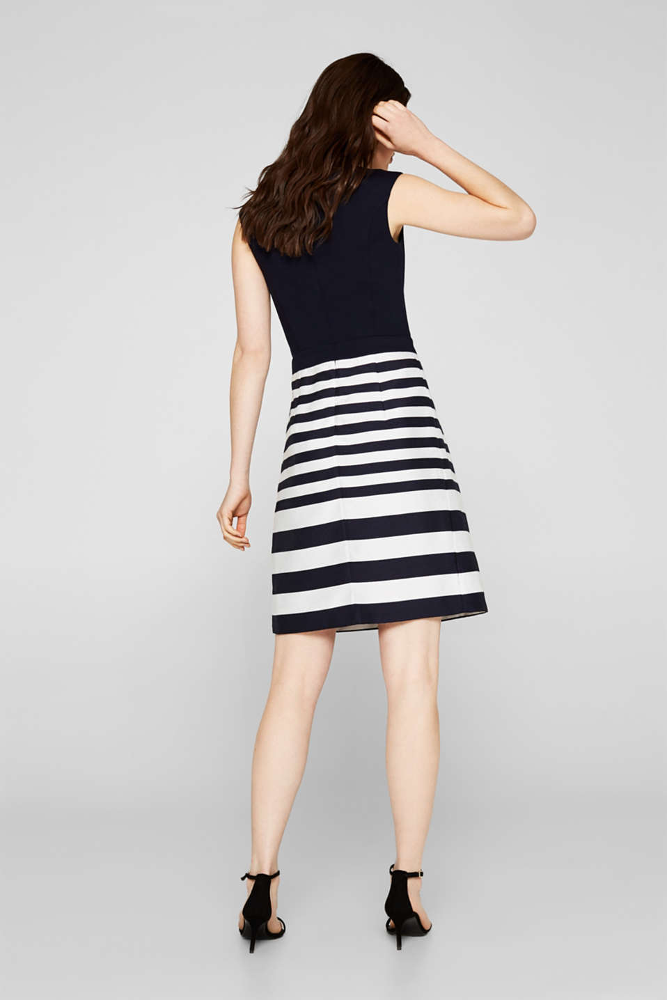 Stretch jersey and fabric dress, NAVY, detail image number 2