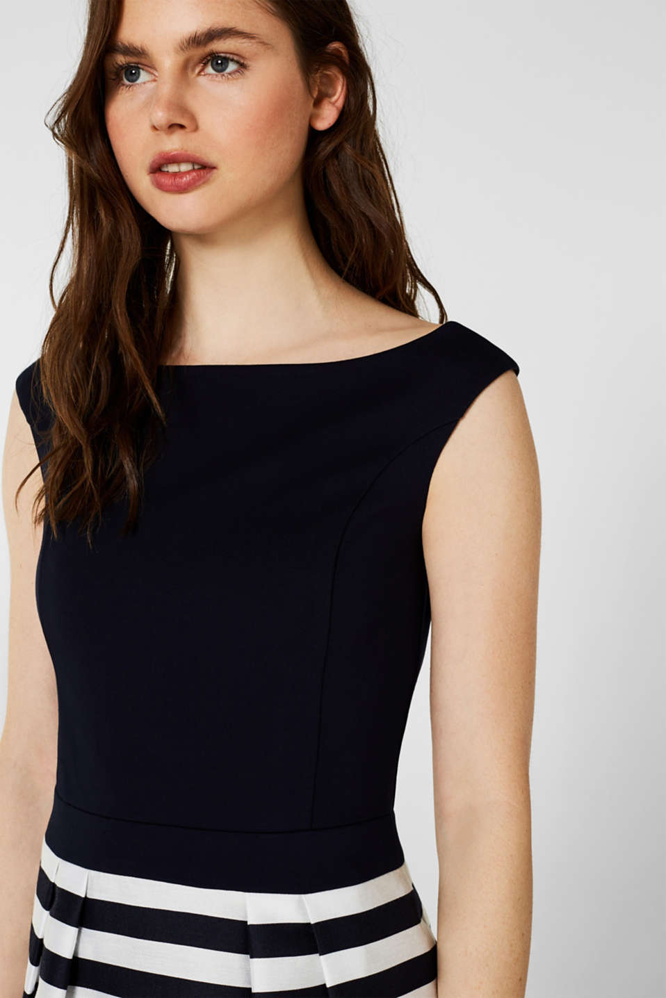 Stretch jersey and fabric dress, NAVY, detail image number 1