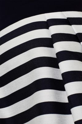 Stretch jersey and fabric dress, NAVY, detail