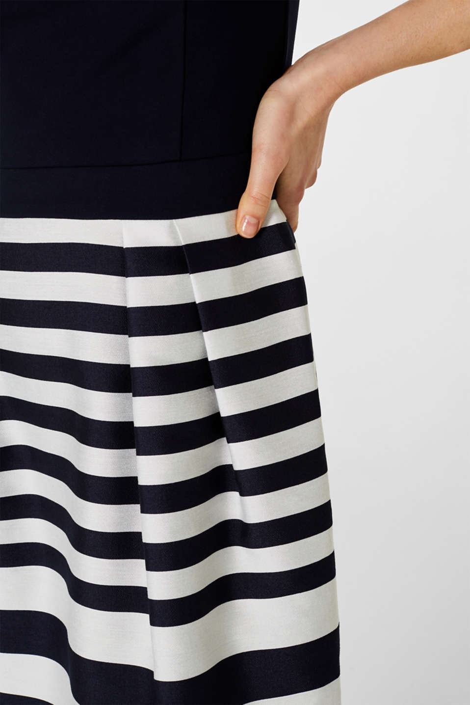 Stretch jersey and fabric dress, NAVY, detail image number 4
