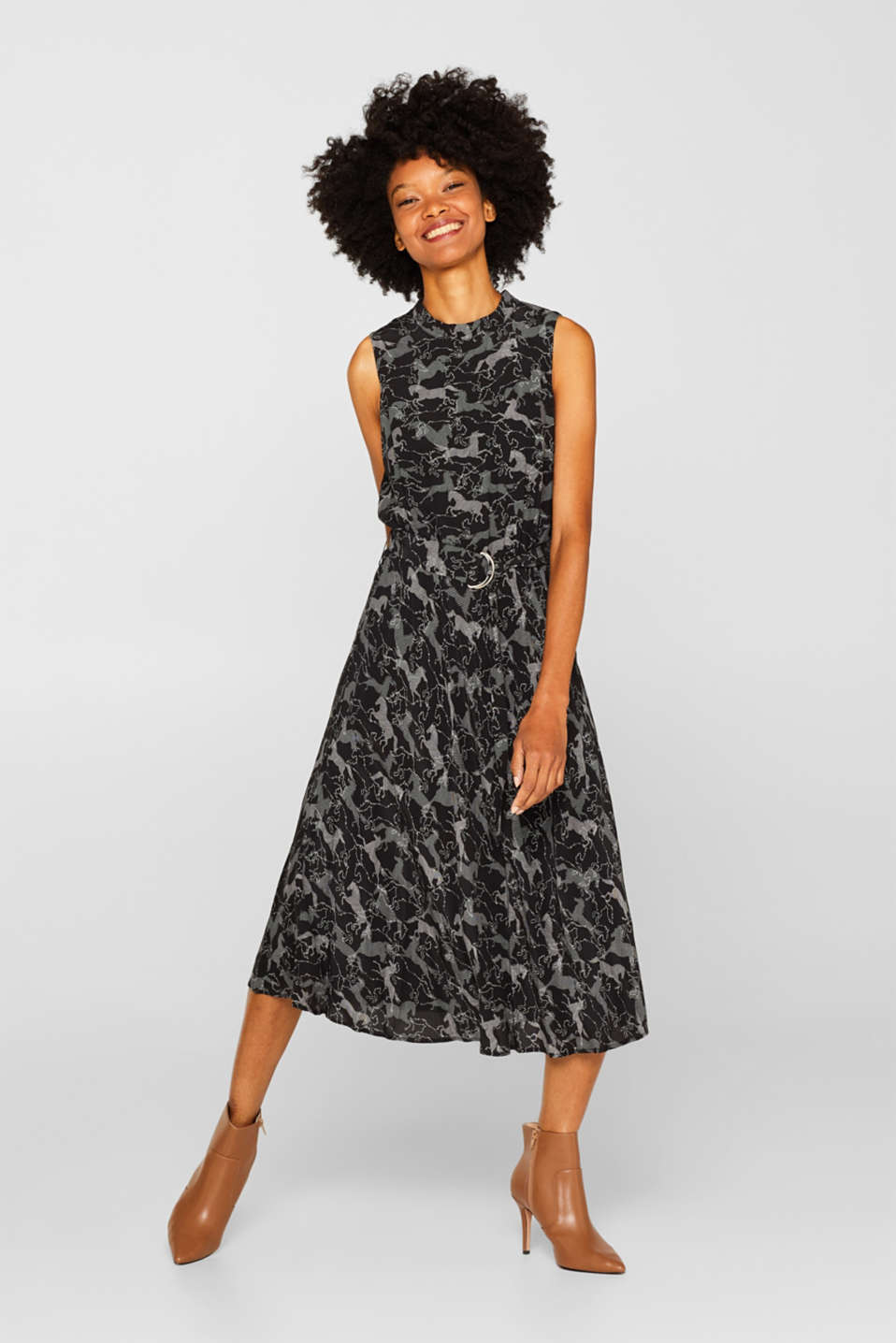 Midi dress with horse print and belt, BLACK, detail