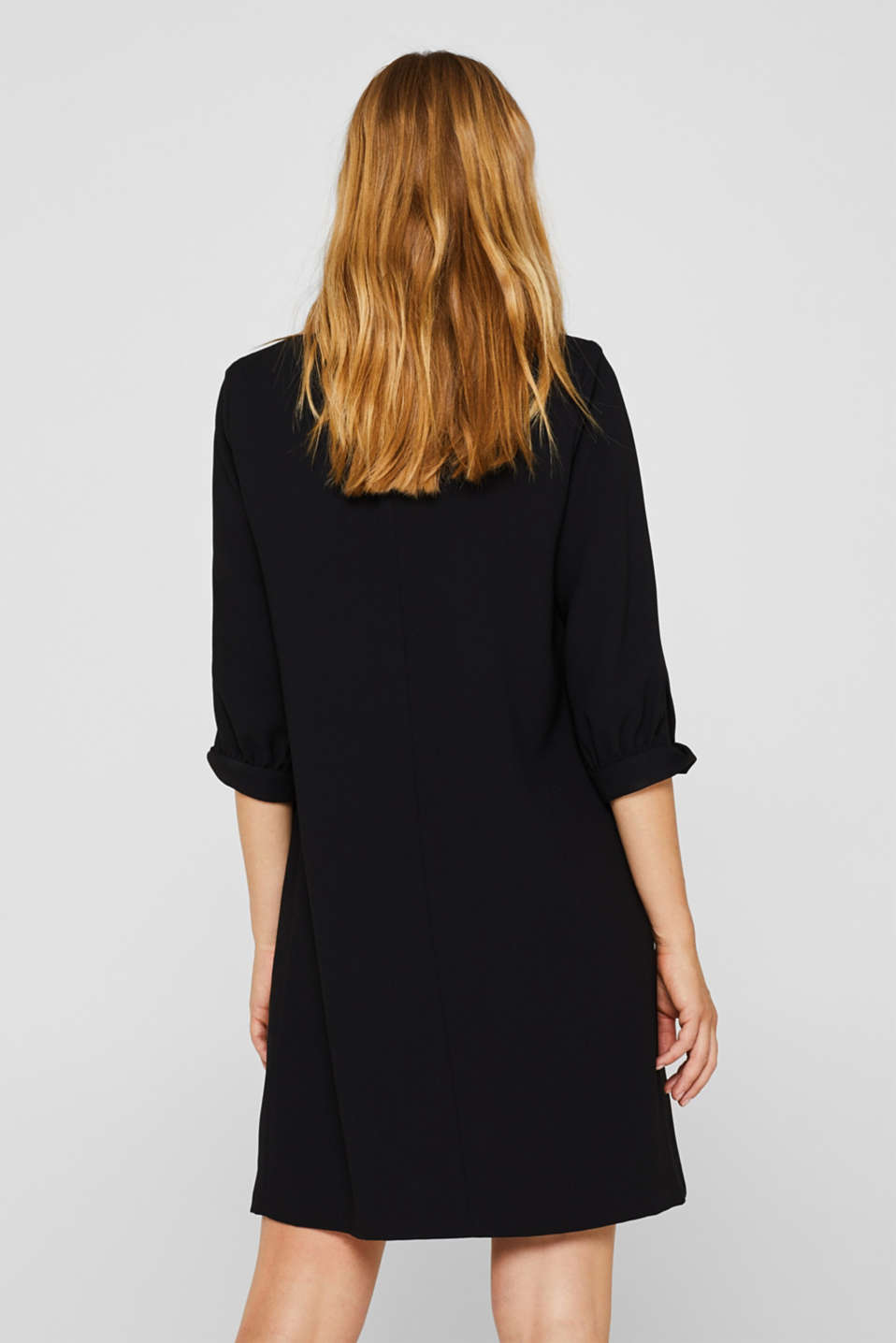 Flowing crêpe dress, BLACK, detail image number 3