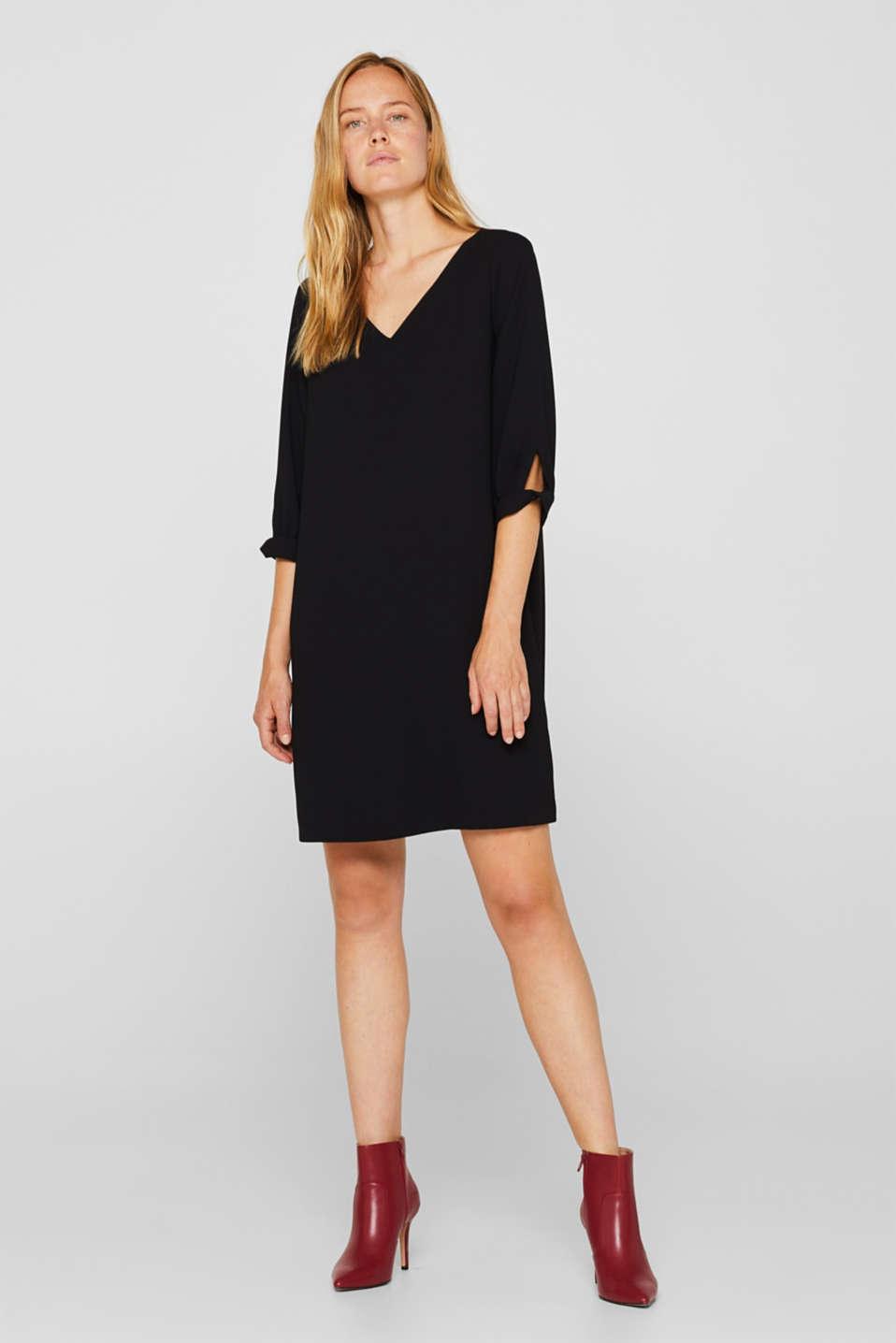 Flowing crêpe dress, BLACK, detail image number 1