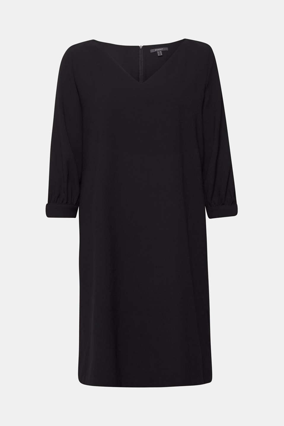 Flowing crêpe dress, BLACK, detail image number 0