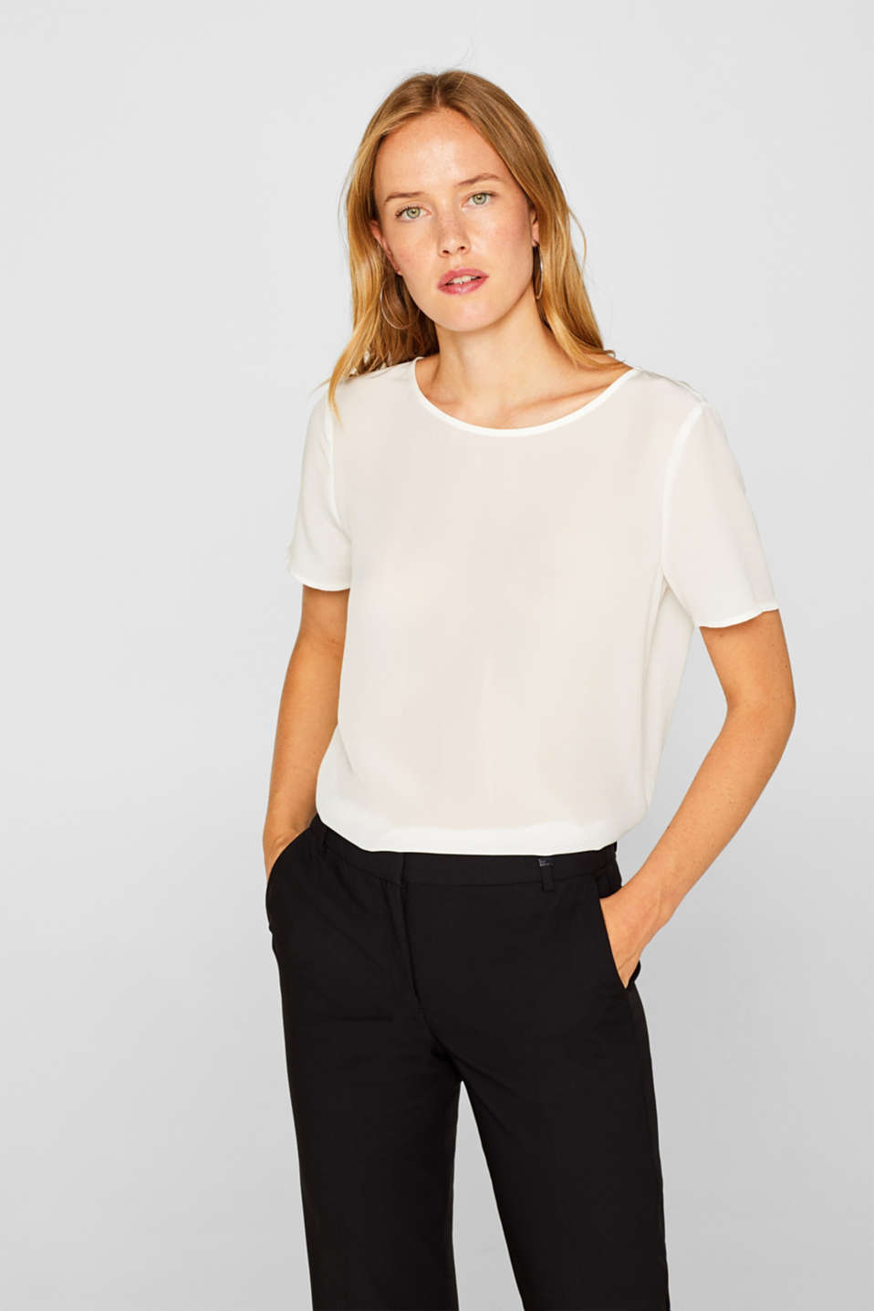 Esprit - Top con look sencillo, 100% seda