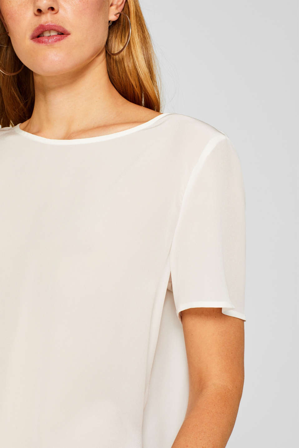Unembellished blouse, 100% silk, OFF WHITE, detail image number 2