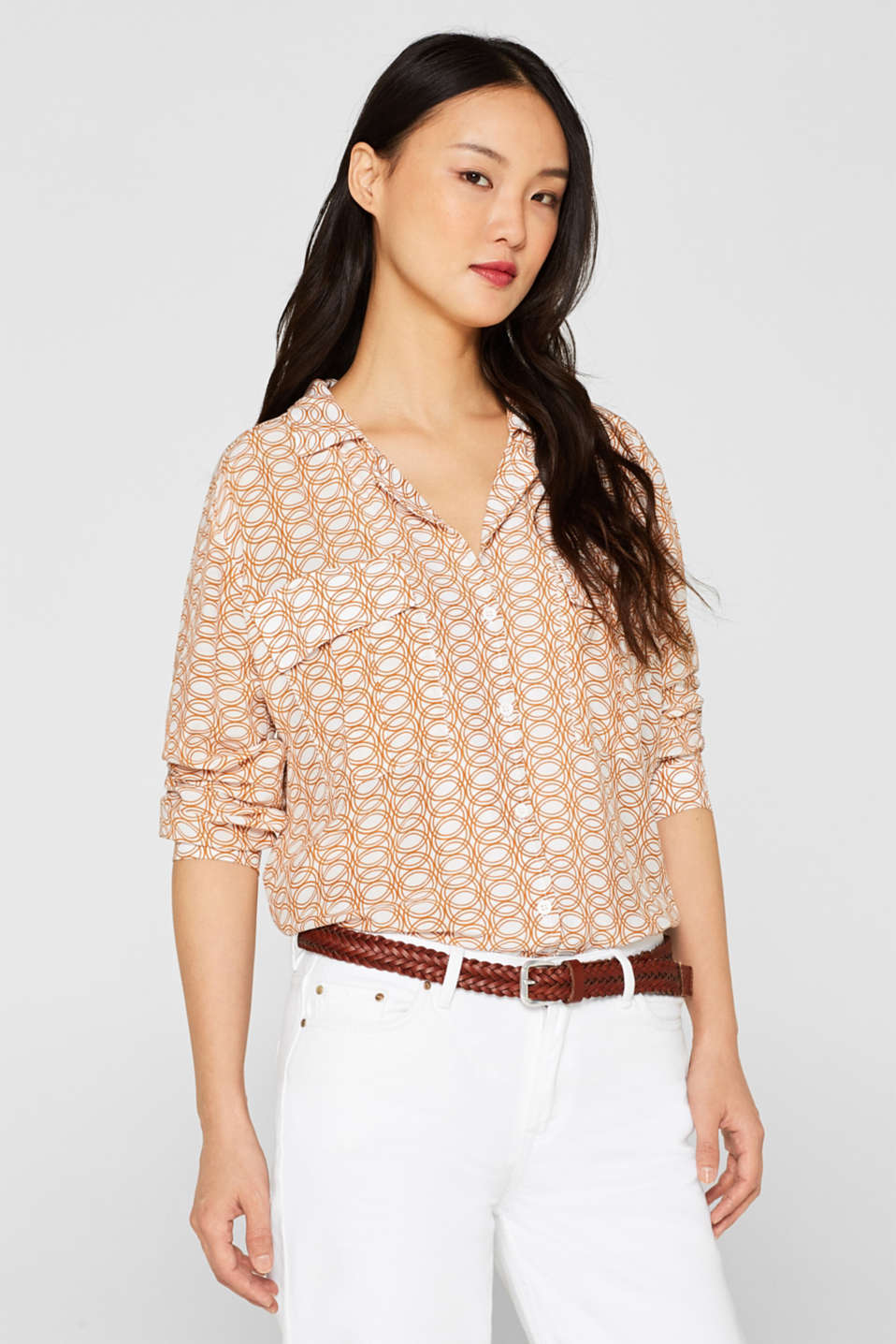 Esprit - Print blouse with lapel collar and pockets