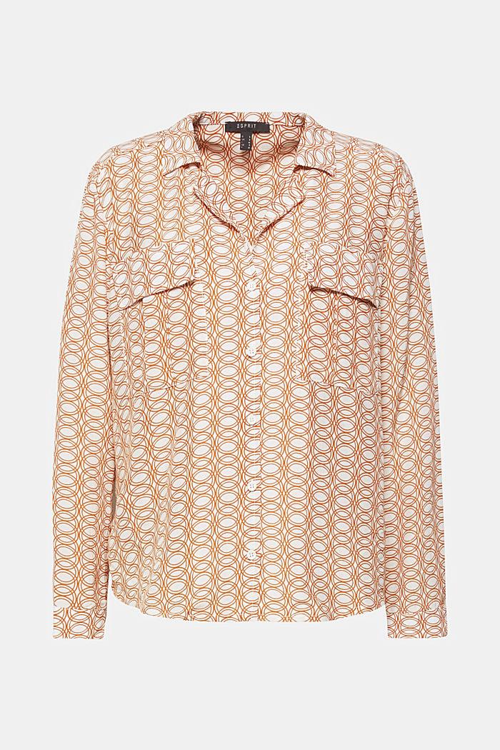 Print-Bluse mit Reverskragen und Taschen, OFF WHITE, detail image number 0