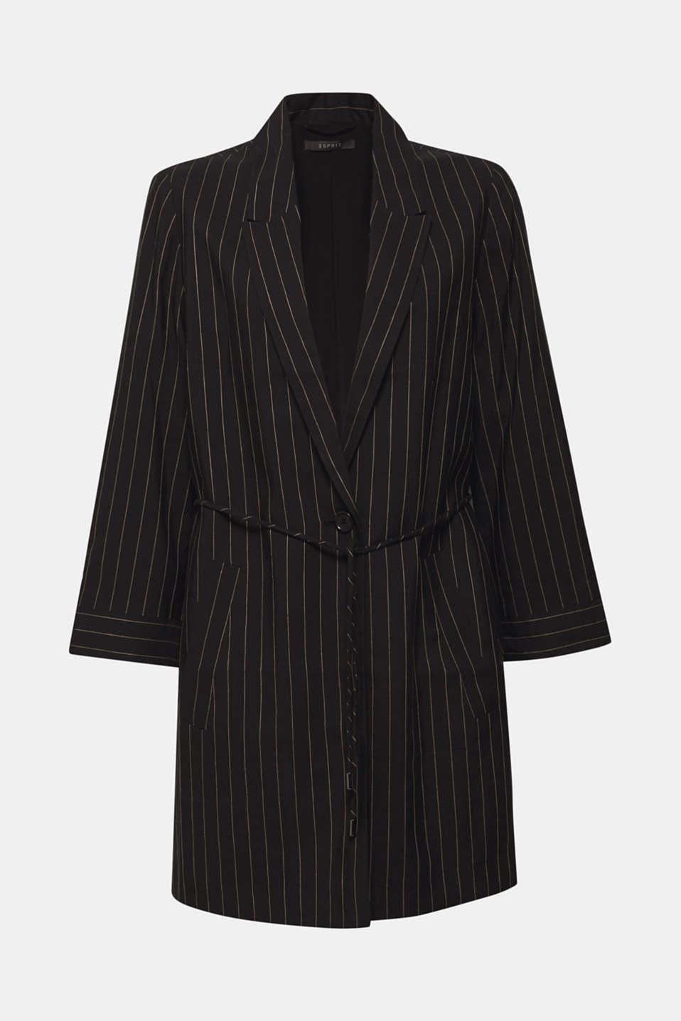 Linen blend: long blazer with pinstripes