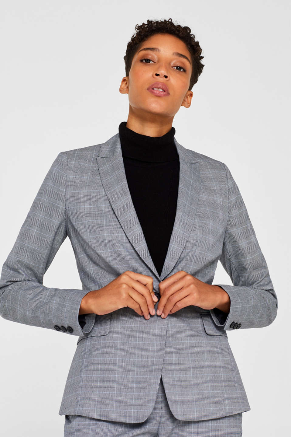 Esprit - HOUNDSTOOTH CHECK Mix + Match stretch blazer