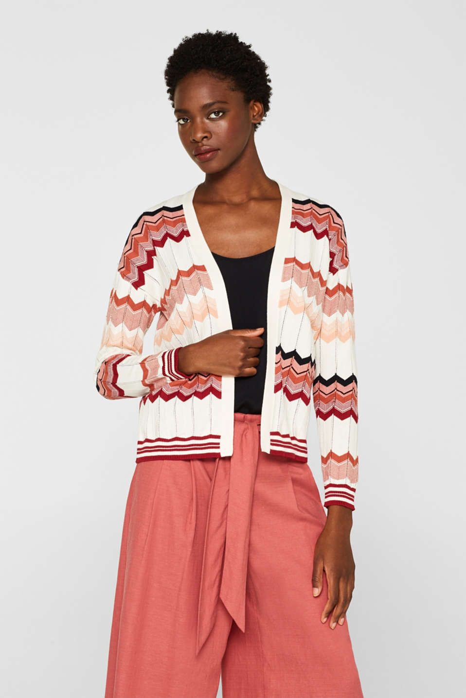 Esprit - Cardigan with a jacquard pattern, 100% cotton