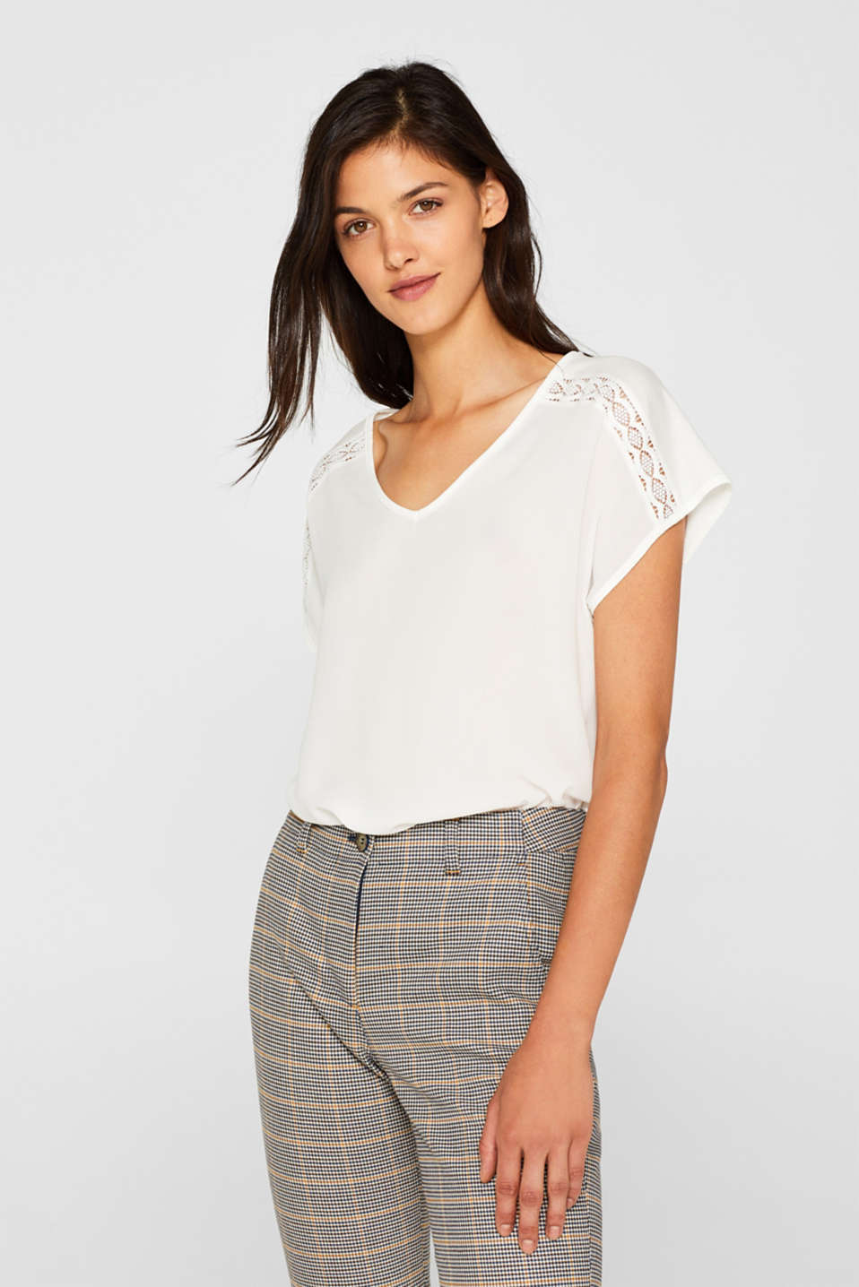Esprit - Mixed material blouse top with lace