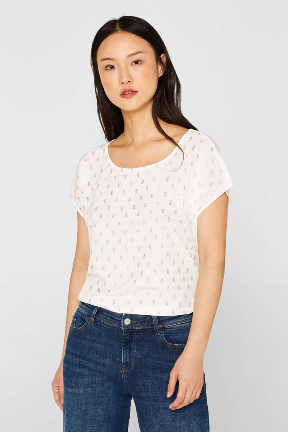 Esprit - Printed mixed material blouse