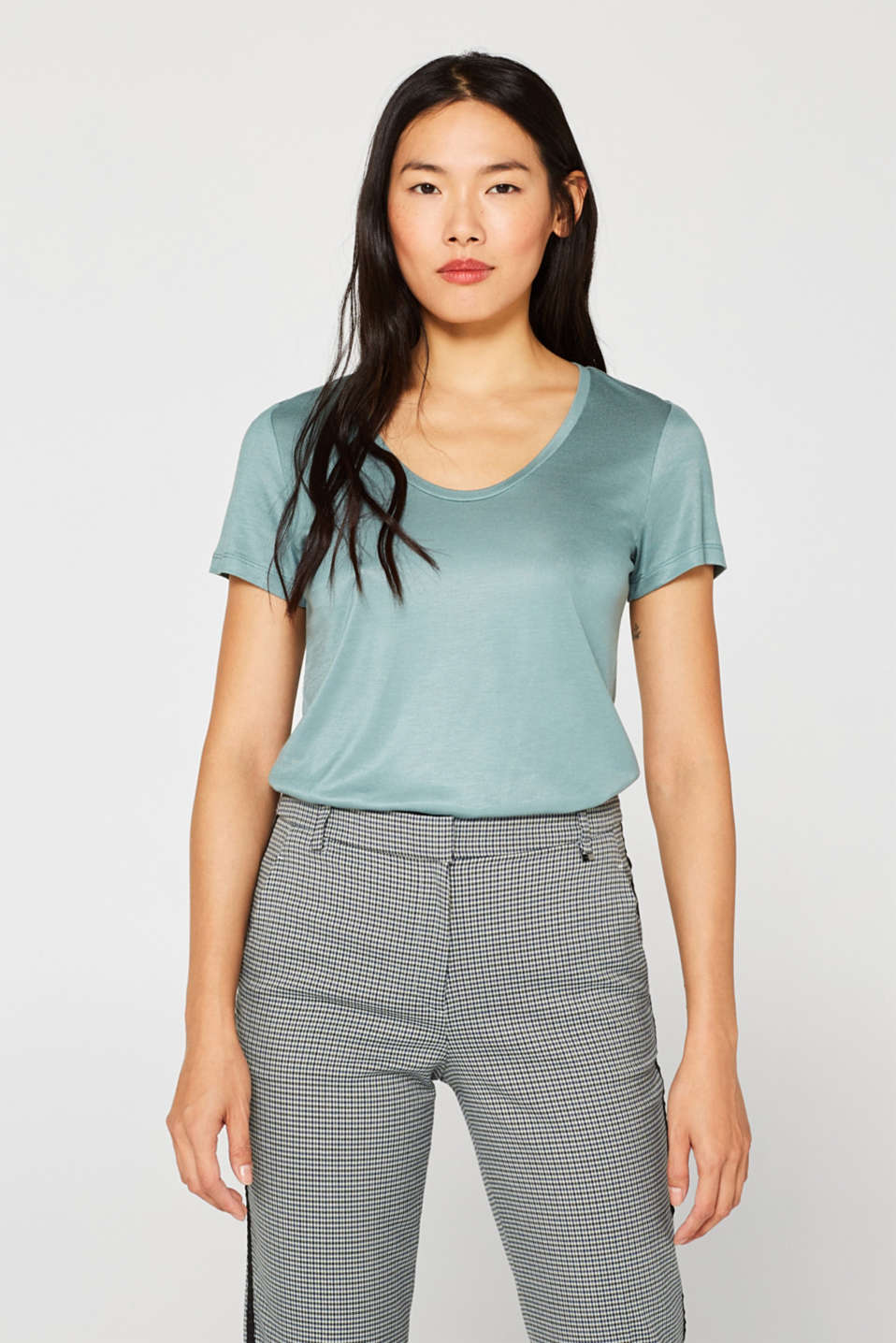Shimmering top with a beautiful neckline, DUSTY GREEN, detail image number 0