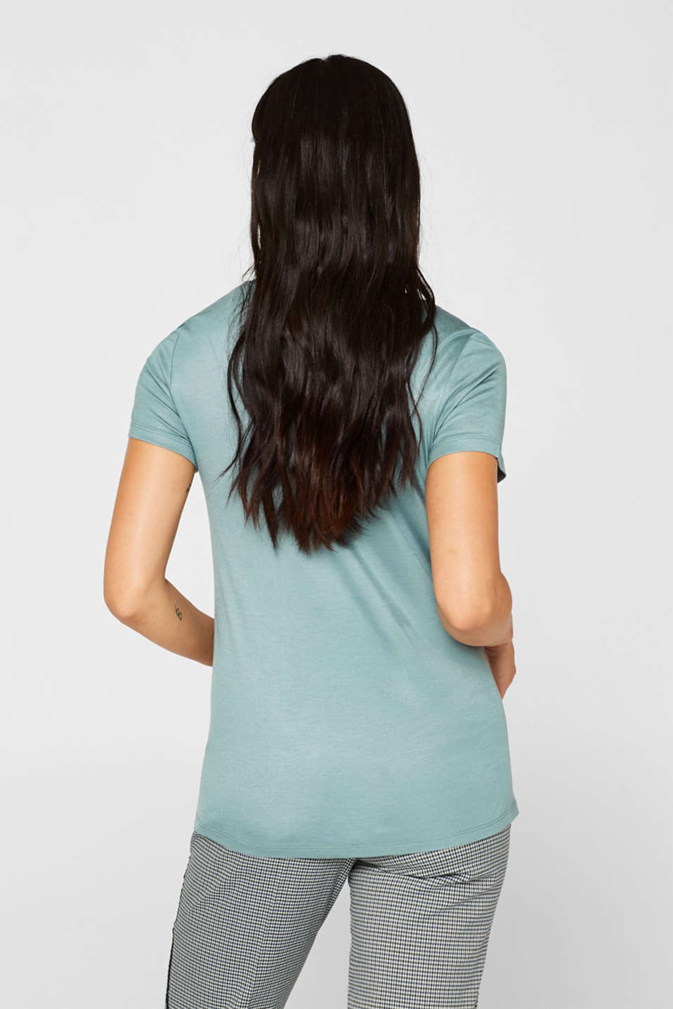 Shimmering top with a beautiful neckline, DUSTY GREEN, detail image number 3