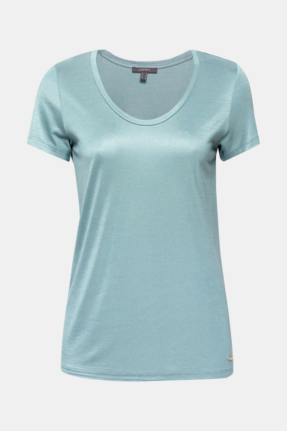 Shimmering top with a beautiful neckline, DUSTY GREEN, detail image number 5