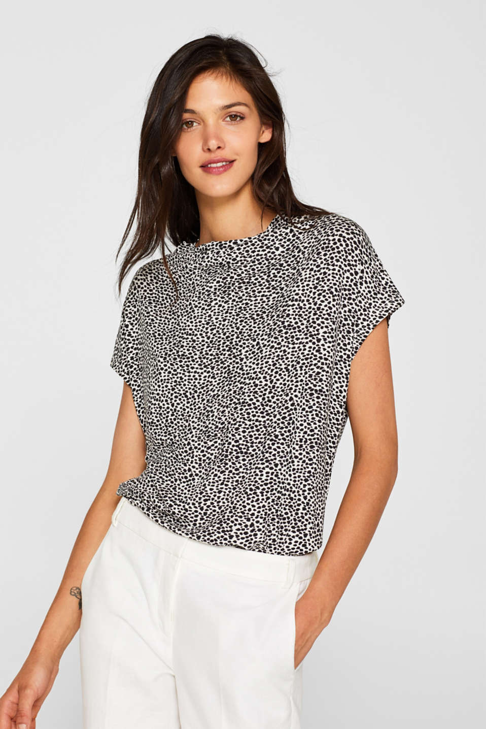 Esprit - Jersey top with stretch and a leopard print