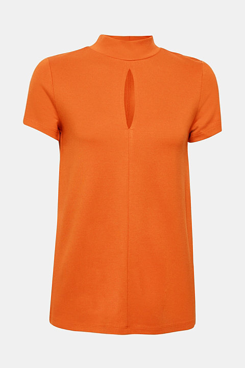 Thick jersey top with a band collar and slit