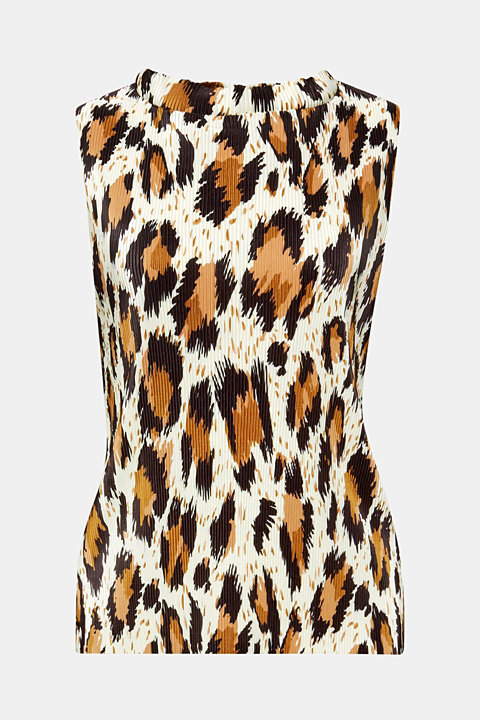 Pleated top with an animal print