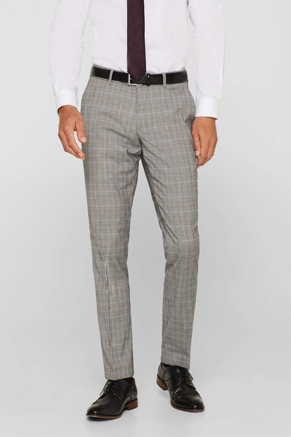 GLENCHECK mix + match: trousers with pressed pleats, GREY, detail image number 0