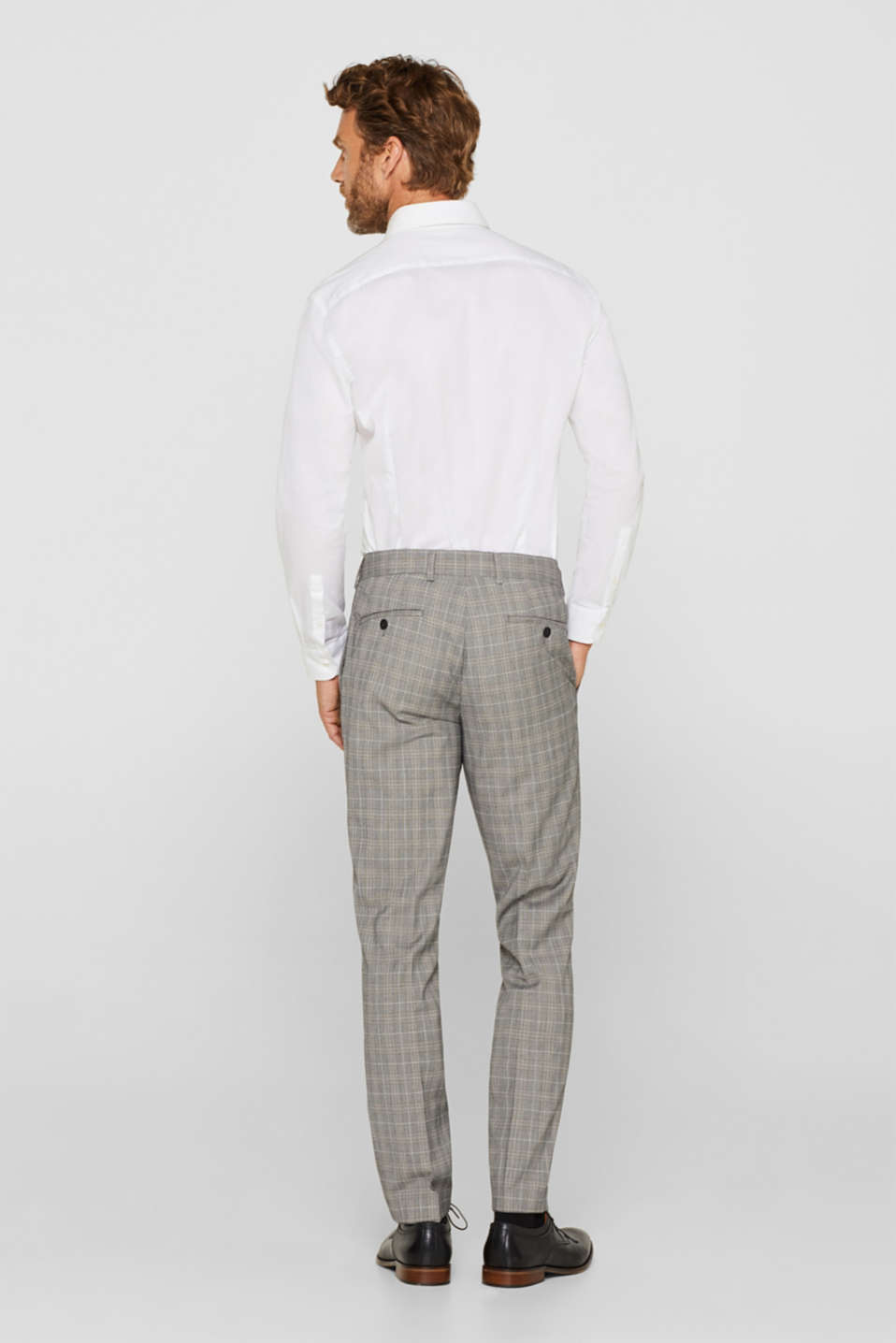 GLENCHECK mix + match: trousers with pressed pleats, GREY, detail image number 1